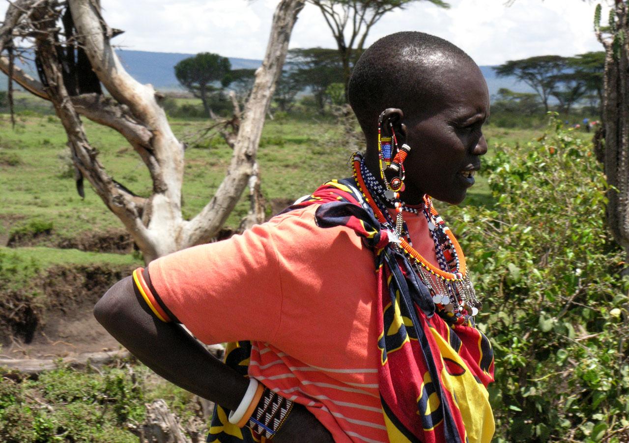 Kenia, Masai vrouw in Masai Mara N.